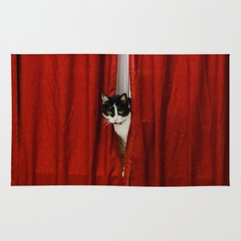 Peek-A-Boo Tuxedo Kitty Rug