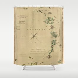 Map of the Caribbee, Granadilles & Virgin Isles (1789) Shower Curtain