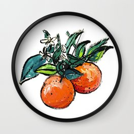 Oranges and Orange Blossom California Citrus Pattern Painting on White Wall Clock
