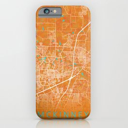 McKinney, TX, USA, Gold, Blue, City, Map iPhone Case