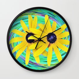 Yellow Rudbeckia Flowers on a Turquoise Garden Swirl Wall Clock