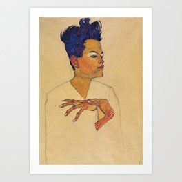 Egon Schiele - Self Portrait With Hands On Chest Art Print