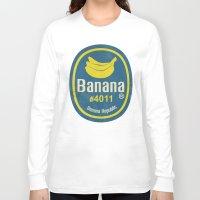 sticker Long Sleeve T-shirts featuring Banana Sticker On Blue by Karolis Butenas
