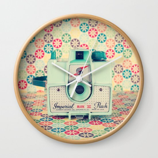Film Mint Camera on a Colourful Retro Background  Wall Clock