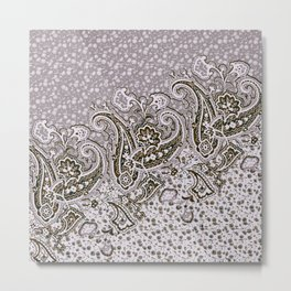 paisley border on small florals Metal Print