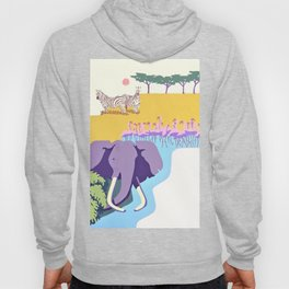 Poster with graphic african animals in strong colors Hoody