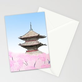 Temple and sakura Stationery Cards