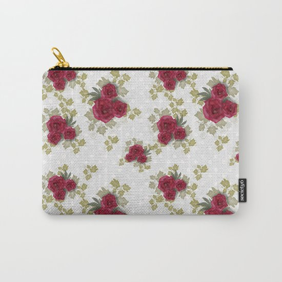 Red retro roses print Carry-All Pouch