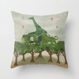 safari wood Throw Pillow