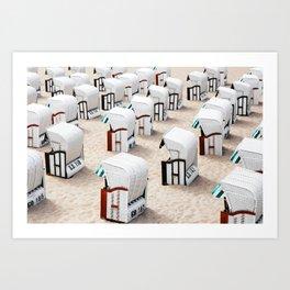 Seaside Beach Cabanas 2 Art Print