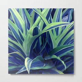 Exotic, Lush Blue and Green Leaves Metal Print