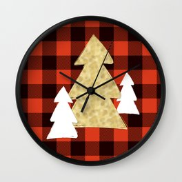 Trees on Red Plaid Wall Clock