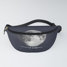 Waxing Gibbous Moon on Navy English Fanny Pack