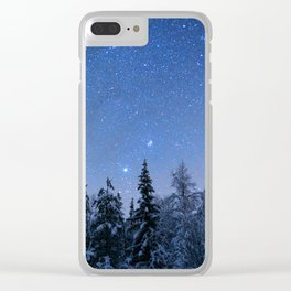 Shimmering Blue Night Sky Stars 2 Clear iPhone Case