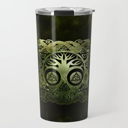 Tree of life - Yggdrasil  and celtic animals Travel Mug