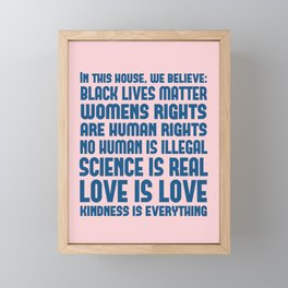 House Rules Democrat Print - Pink and Blue Framed Mini Art Print