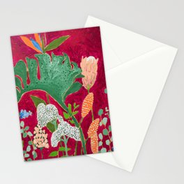 Magenta Jungle Painting, Monstera, Birds of Paradise Floral on Pink Jewel Tone Stationery Cards