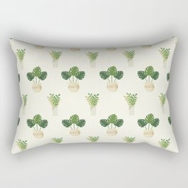 Modern ivory green tropical cheese monster leaves floral Rectangular Pillow