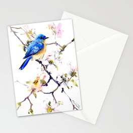 Bluebird and Dogwood, bird and flowers spring colors spring bird songbird design Stationery Cards