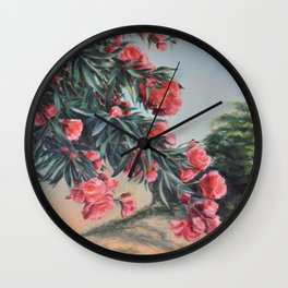 Oleander in the yard Wall Clock