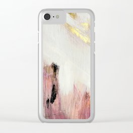 Sunrise [2]: a bright, colorful abstract piece in pink, gold, black,and white Clear iPhone Case