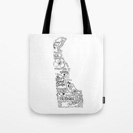 Delaware - Hand Lettered Map Tote Bag