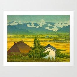 Kawase Hasui Vintage Japanese Woodblock Print Beautiful Mountain Valley Farmland Yellow Hues Art Print