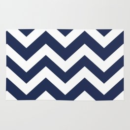 Space cadet - blue color - Zigzag Chevron Pattern Rug