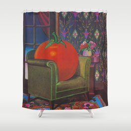 Therapy With A Tomato Milton Glaser - Tomato- Something unusual is going on here - 1978 Shower Curtain