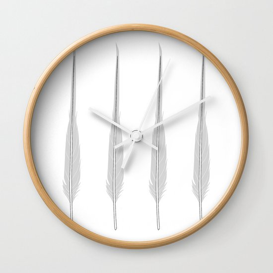 Grey Little Feather Wall Clock