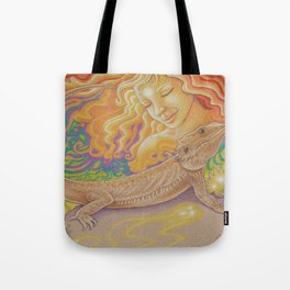 Sun And Dragon, Bearded Dragon Art Tote Bag