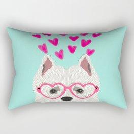 Westie west highland terrier white valentines day dog lover pet valentine Rectangular Pillow