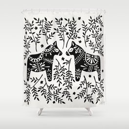 Swedish Dala Horses – Black Palette Shower Curtain