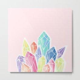 Crystals Pink Metal Print