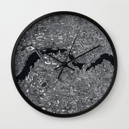 London map black and white Wall Clock