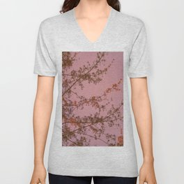 Pink Sunset Tree Abstract Unisex V-Neck