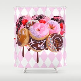CHOCOLATE & PINK  STRAWBERRY GLAZED DONUTS ART Shower Curtain