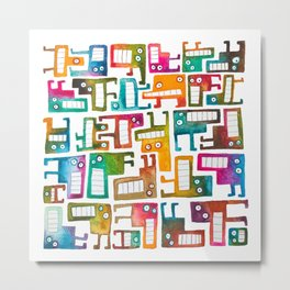 Tetris Monsters Metal Print