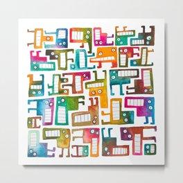 Tetris Monsters Metal Print