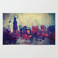 chicago Area & Throw Rugs featuring Chicago by Danielle DePalma
