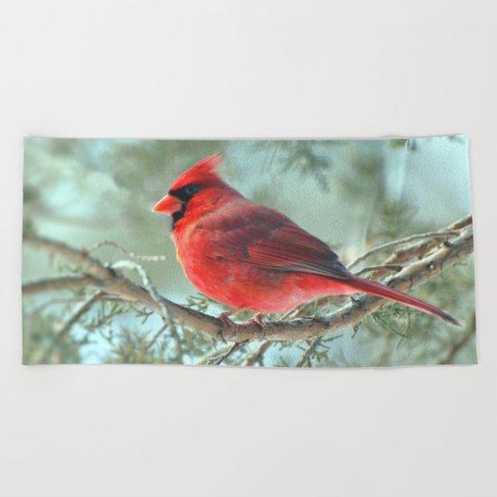 Dreamy Morning (Northern Cardinal) Beach Towel