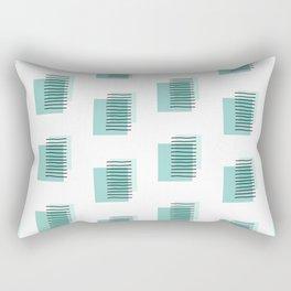 Black Stripes on Mint Squares Rectangular Pillow