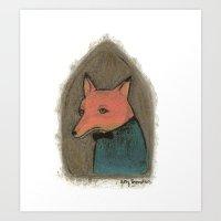 mr fox Art Prints featuring Mr. Fox by Amy Brereton