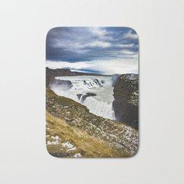 Clouds Over Gullfoss Waterfall in Iceland Bath Mat