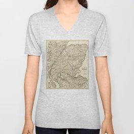 The Tourist's Map of Scotland (c 1855) Unisex V-Neck