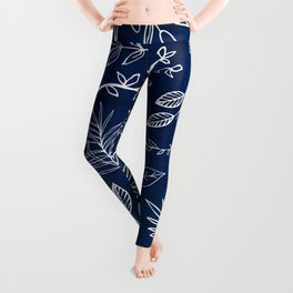 In The Wind - Blue and White Leaf Sketch Leggings