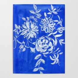 blue and white: flowers N.o 1 Poster