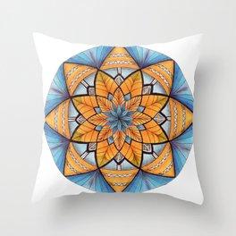 Sapphire-Gold Mandala (on white) Throw Pillow