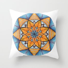 Sapphire-Gold Mandala (on white) Throw Pillow