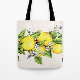 Lemons with Bee Tote Bag